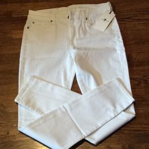 7 for all mankind super skinny white jeans